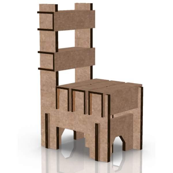 silla en mueble de cartón